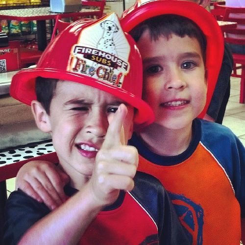 Oh, hey... We ain't doing nothing, just being firemen. Saving people's live & such Clapclap @dads4boys
