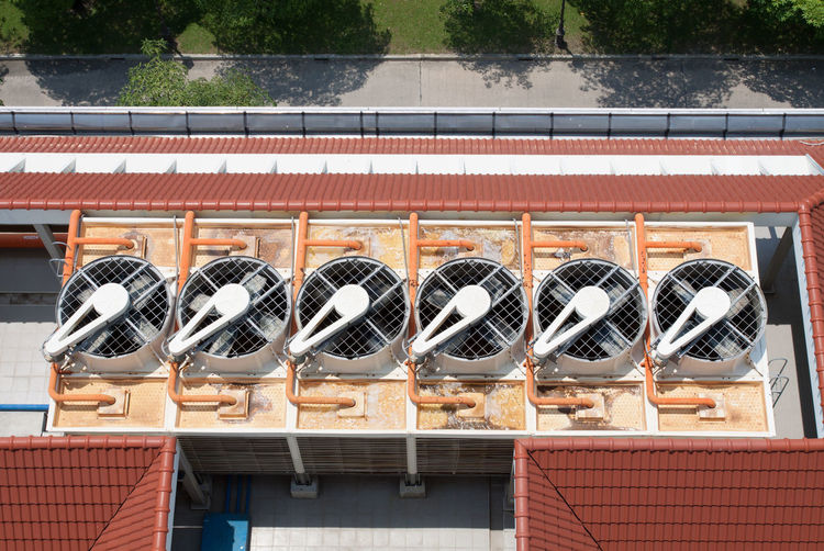 High angle view of exhaust fans on roof