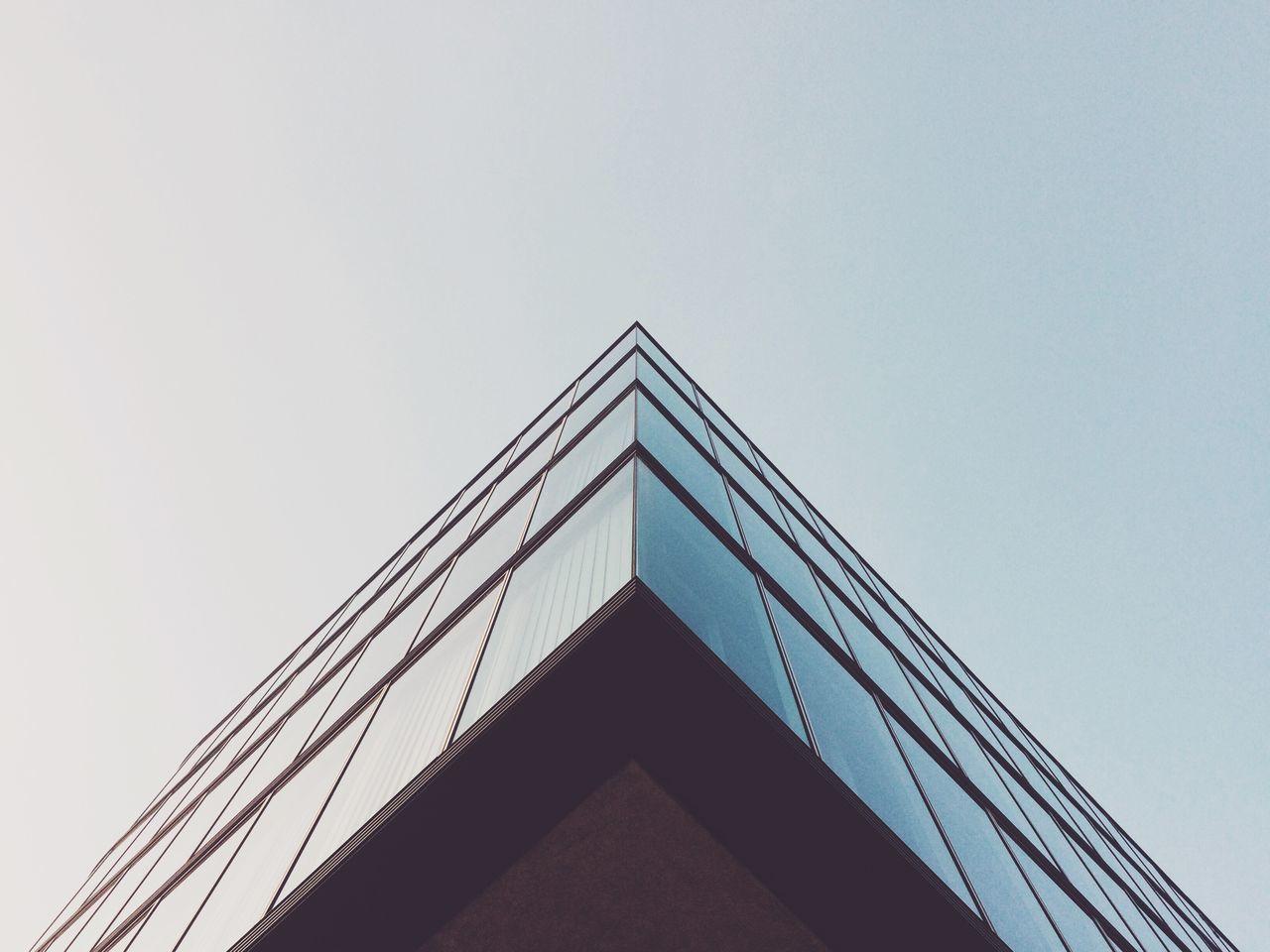 Corner of building against sky