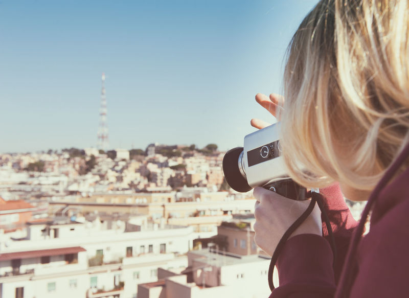 Analogue Photography Blonde Camera City City Cityscape Color Effect Day Effect Old One Person Outdoors Retro Styled Shooting Skyline Sunlight Super 8 Technology Tourist Urban Skyline Vintage Woman