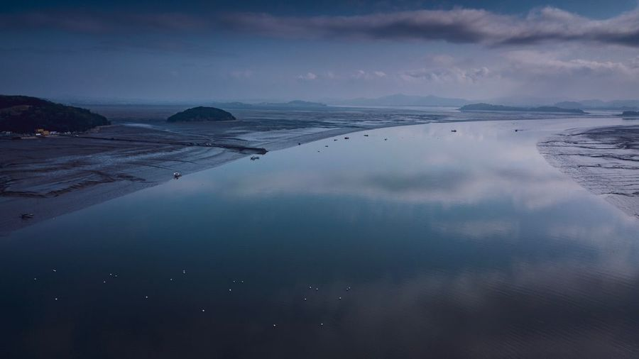 Early moning, mudflat and life High Angle View Drone Photography Drone Shot Mudflat Korea Donggum Island Water Sky Sea Scenics - Nature Beauty In Nature Reflection Tranquility Nature Beach Tranquil Scene Blue Night Environment No People EyeEmNewHere