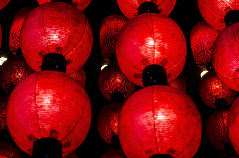 Japanese beautiful red lanterns Abundance Cultures Decoration Group Of Objects Hanging Illuminated Lantern Medium Group Of Objects No People Pattern Red Tradition Traditional Festival