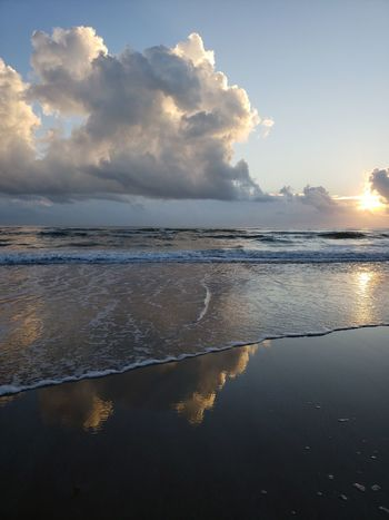 Sunrise Water Sea Beach Low Tide Sun Blue Reflection Sky Landscape Tide Coastal Feature Coastline Ocean Surf Rushing Wave