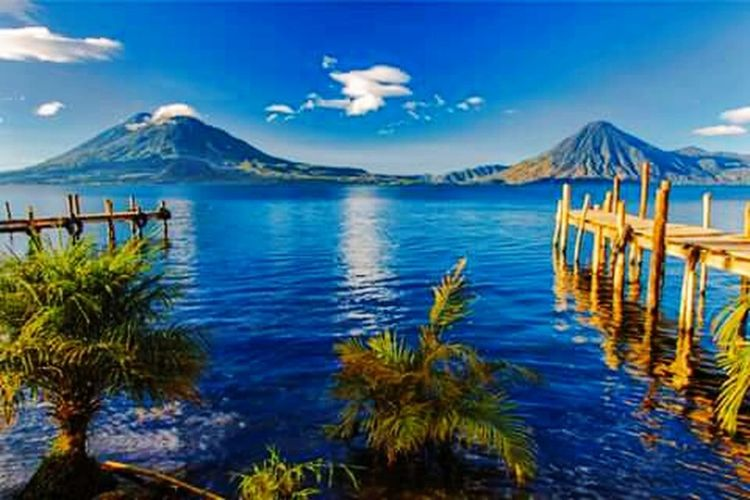 Atitlan Lake Cloud - Sky Day No People Volcano Travel Destinations Tranquility