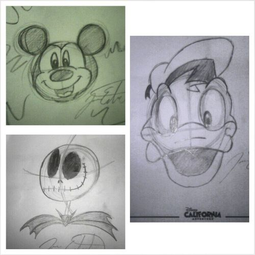 My drawings I did at Disneylandcalifornia I think the bigger one came out really good lol Mickeymouse Jackskeleton Donaldduck badassartist lol