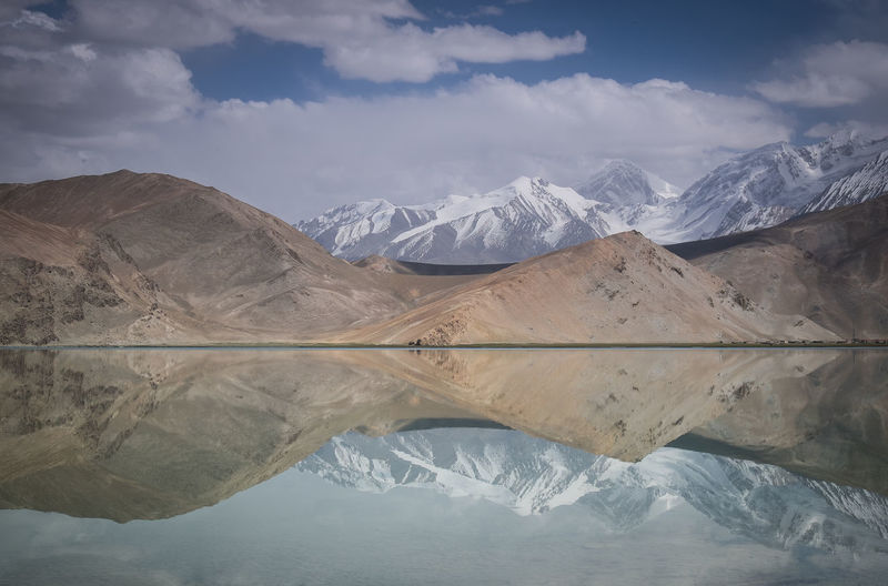 Reflection Of Mountain On Karakul Lake Against Sky