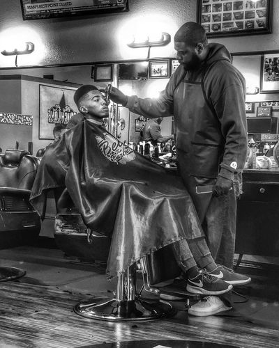 Shop 1 Blackandwhite Photography Blackandwhite Hdr_Collection HDR Barbershop Urban Real People Men Full Length Adult Standing Lifestyles