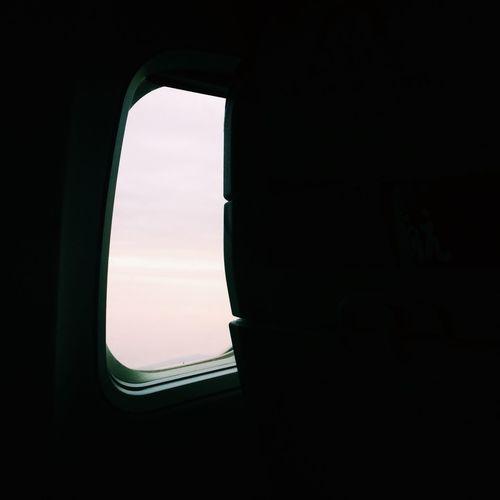 Sunset seen through train window