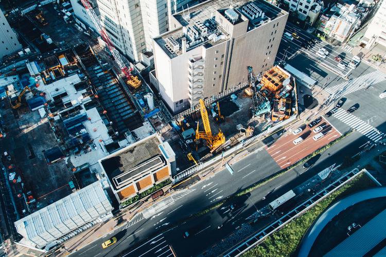 Aerial View Of Construction Site In City Street