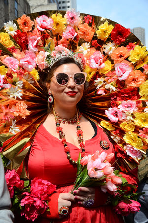 New York Fifth Avenue Easter Parade & Bonnet Festival, 2018 Easter Ready Red, Spring The Portraitist - 2018 EyeEm Awards Adult Beautiful Woman Fashion Flower Flower Arrangement Flower Head Flowering Plant Fragility Front View Glasses Hairstyle Lifestyles Nature One Person Outdoors Pink Color Plant Portrait Real People Standing Sunglasses Waist Up Women Young Adult Young Women