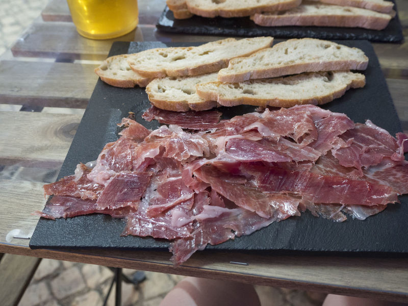 Serrano Tapas Bacon Breakfast Cutting Board Food Food And Drink Ham Meat Pata Negra Pork Raw Food Ready-to-eat Serving Size SLICE