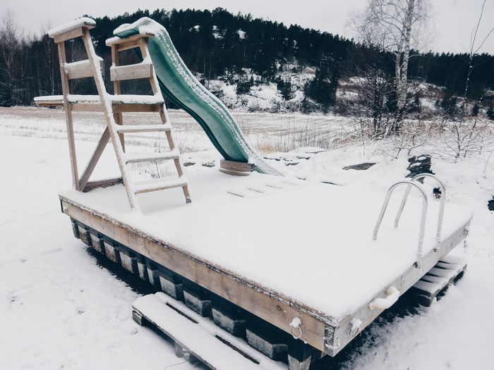 Snow covered slide at playground
