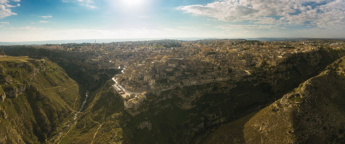 Aerial view of matera against sky