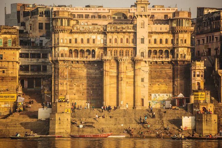Buildings at banks of ganges river