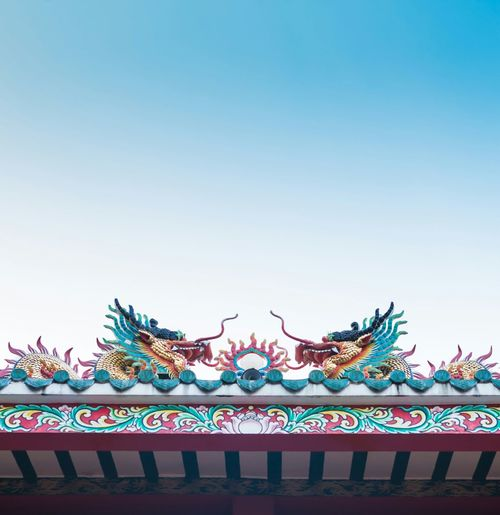 Gold Golden Dragon Fireball Roof Temple Chinese Style Design Figure Dance Chinatown Landmark Culture Traditional ASIA Buddhism Worship Famous Place Architecture Legend God Great Power Sky