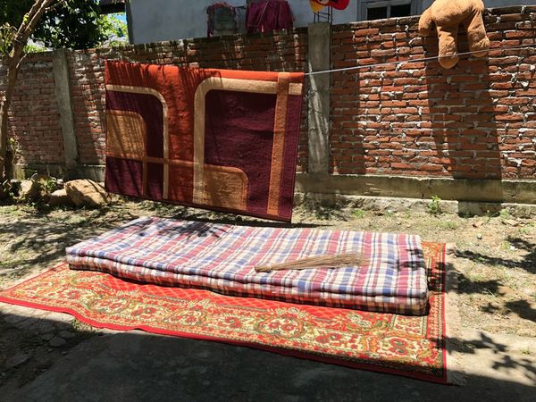 germ-free IPhoneography Germ Free No People Day Textile Nature Sunlight High Angle View Seat Bed Outdoors Drying Pillow Brick Wall Brick Pillow Brick Wall