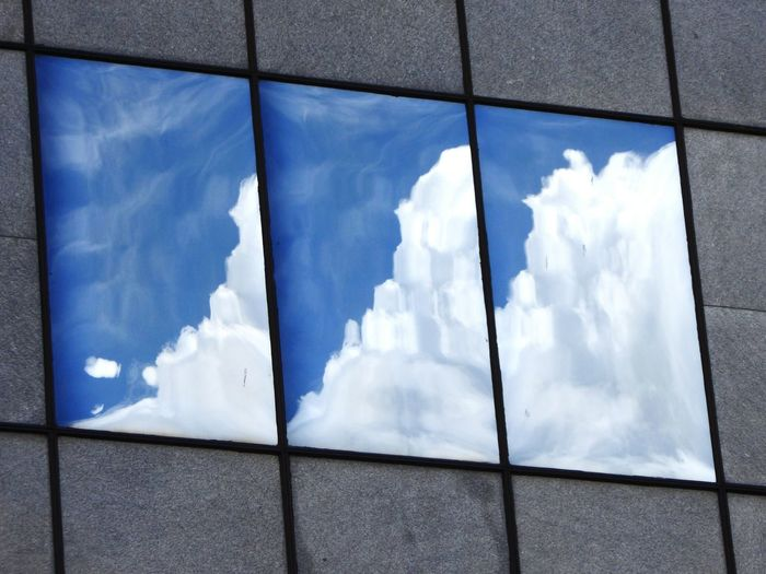 Triptych Reflection Sky Clouds Window Painting Part Of From My Point Of View Through My Lens