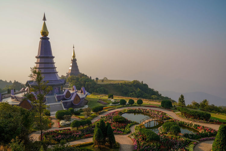 Architecture Built Structure Sky Tree Plant Building Exterior Building Nature Belief Travel Destinations Place Of Worship Religion Tourism Spirituality Travel No People Clear Sky History Outdoors Spire  Doi Inthanon Chiang Mai Chiang Mai | Thailand