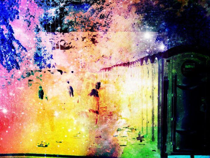 Full frame shot of multi colored wet illuminated street