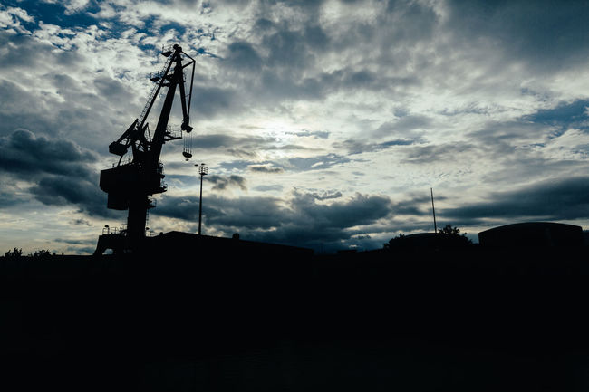 Against The Light Cloud - Sky Cloudy Contre-jour Contre-jour Shot Crane Dark Dramatic Sky Industrial Outdoors Overcast Scenics Silhouette Sky Tranquility Weather