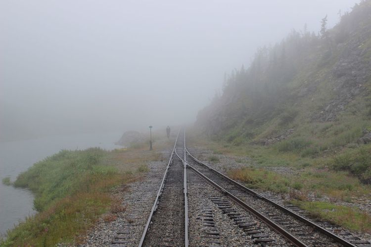 """Don't let the agony, regret, or fog of yesterday blind you to the fact that each new day carries with it a plethora of opportunities to move your life into the right direction."" ― Steve Maraboli Fog Train Tracks Canada New Day Summer 2016 Life Is Good Quote Mist Misty"