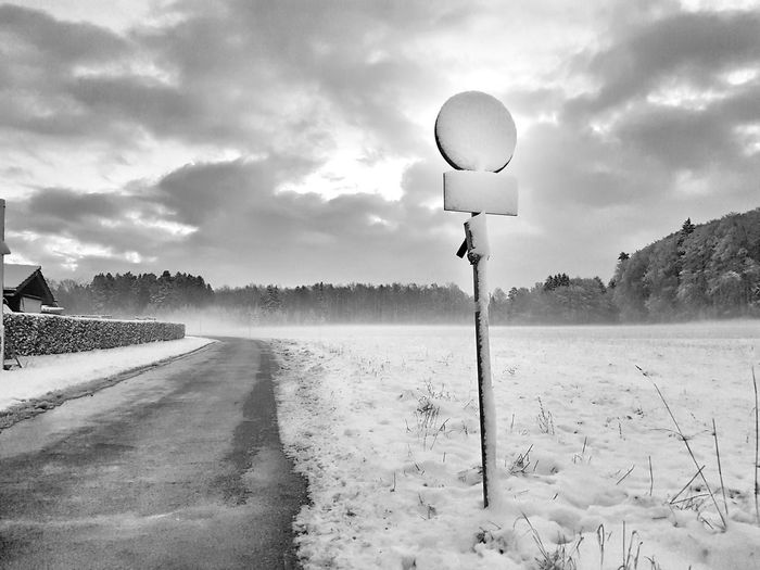 After the snow drift Snow Winter Road Traffic Sign Sky Landscape Cloud - Sky