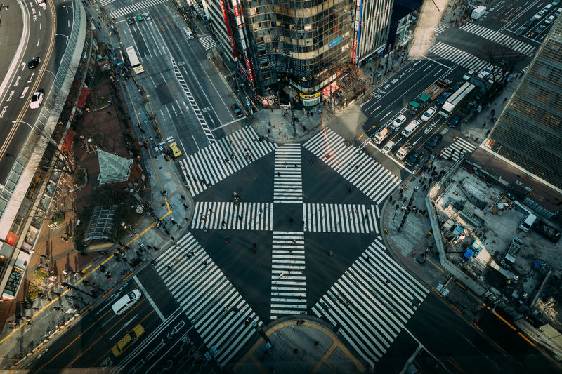 Aerial View Of Roads Intersection In City