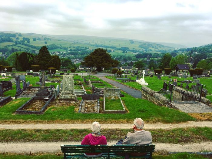 Dreaming of the future Gravestones Yorkshire Dales Couple Elderly Cemetery Plant Cloud - Sky Sky Nature Tree Day Beauty In Nature Real People Park