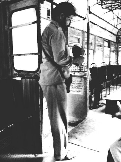 Sleepy morning commute. Tram Ticketmaster People Commuting Streetphotography Camera FV-5 Phonography  Snapseed Blackandwhite Kolkata India Eyem HTC Desire People And Places