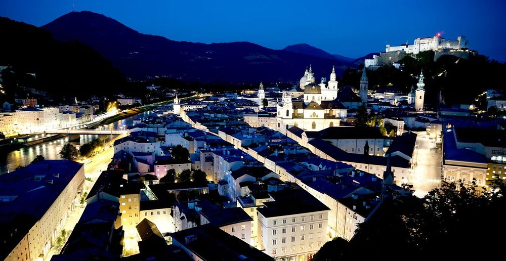 Salzburg by Night Mountain Range Building Exterior Nature
