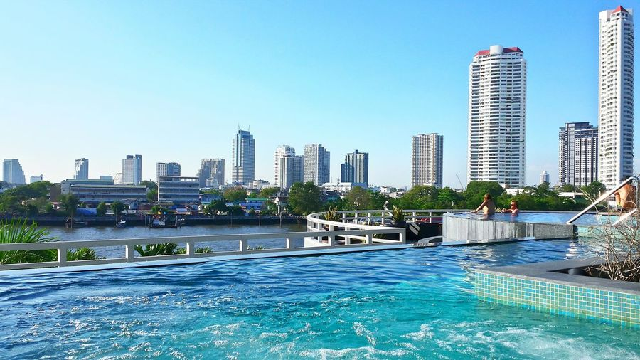 Bangkok Skyline from Chatrium Hotel Pool Great Atmosphere Pool Time Learn & Shoot: Layering Swimming Pool Beautyful Hotel Location My Best Photo 2015 Done That.