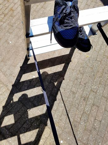 Shadow Sunlight High Angle View Outdoors Day Sneakers Ladder Blue Blue Shoes Blue Sneakers Out Of The Box