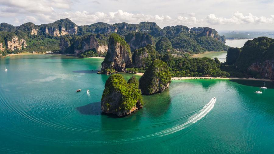 Scenic view of bay aonang rairay thailand