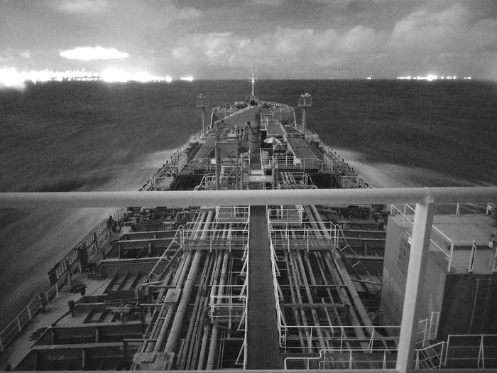 Nautical Theme Nautical Vessel Cargo Ship Life Onboard Nightphotography Long Exposure Waves Sea Sky Mast