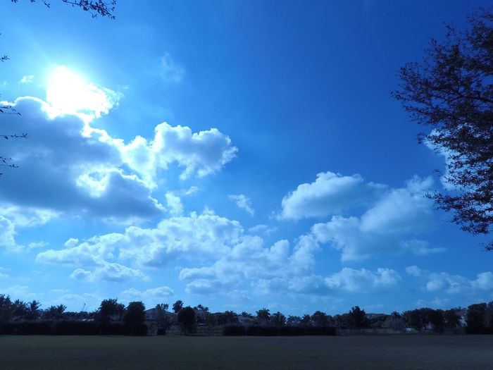 Sky Blue Landscape Nature Tranquil Scene Scenics Tranquility Tree Cloud - Sky Beauty In Nature Outdoors No People Day Sky And Clouds Beautiful Day Relaxing Walk Sun Open Field Houses Treelines Cloudy Sunday Morning Florida