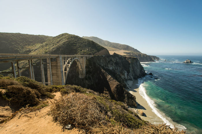 Big Sur, California. Bixby Bridge Bixbybridge Clear Sky Cliff Day Highway 1 Hill Landscape Mountain Mountain Range Outdoors Pacific PCH Rock Rock - Object Rock Formation Scenics Tranquil Scene Tranquility Water