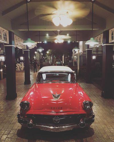 Retro Car Red Indoors  Illuminated Architectural Column No People Night Auto Racing Cars
