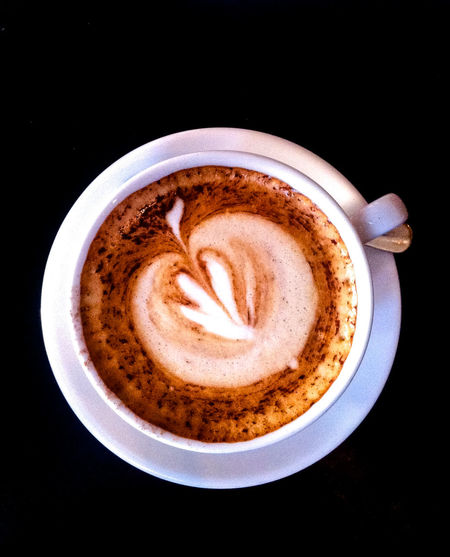 Enjoy Your Coffee! Black Background Cappuccino Close-up Coffee - Drink Coffee Cup Cup Directly Above Drink Foam Food And Drink Freshness Froth Froth Art Frothy Drink High Angle View Indoors  Latte Mocha No People Pattern Refreshment Saucer Studio Shot Table First Eyeem Photo