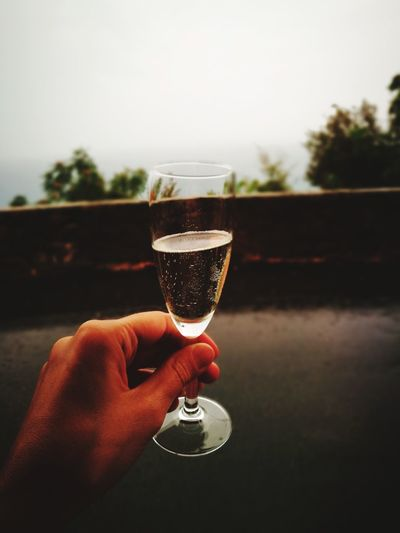 Close-up of hand holding wineglass against sky