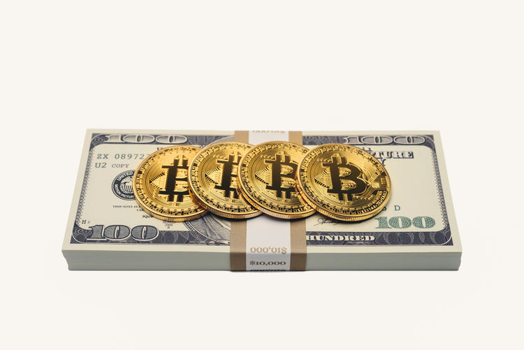 Dollar Notes and Bitcoins Earning Rich Virtual Bitcoin Business Close-up Coin Communication Copy Space Cryptocurrency Currency Dollar Sign Dollars Economy Expensive Finance Indoors  Money No People Paper Currency Still Life Studio Shot Wealth White Background