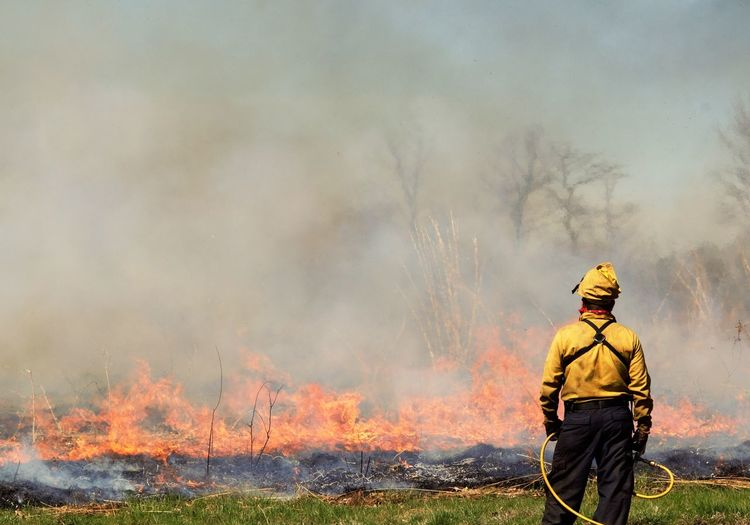 Rear view of fire fighter standing on in front of fire on field