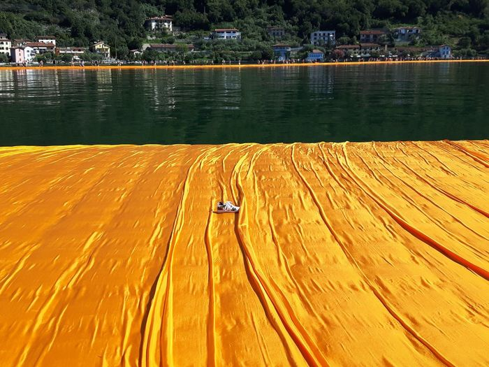 Christo And The Floating Piers Christo Floating On Water Floating Pier Lago Iseo Italy Iseo Lake