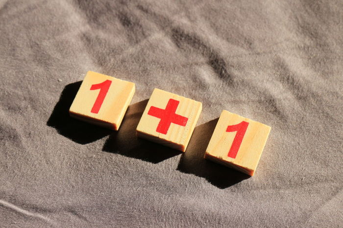 one plus one Numerical Red Wood Childhood Close-up Day Education Equation Indoors  Learn No People Number
