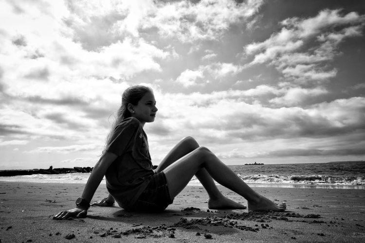 At the beach Black And White Blonde Girl Life Happy Happiness Kids Being Kids Kidsphotography Girl Relaxing Young Women Beautiful Woman Sea Full Length Water Women Beauty Beach Beautiful People Portrait Calm Shore Sandy Beach Horizon Over Water Ocean Sand Coastline