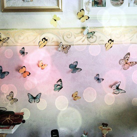 Day 10: la prima cosa che vedo Lagalleriadiluglio Farfalline Colorate Sul muro