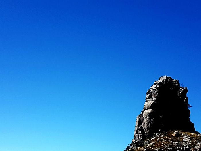 outcrop Mountain Blue Clear Sky Copy Space Close-up Sky