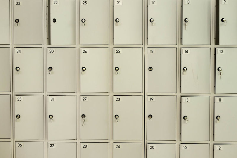 White lockers Locker Backgrounds Closed Dressing Room Full Frame In A Row Indoors  Locker Locker Room Lockers Metal No People Number Order Privacy Protection Repetition Safe Box Safety Security Side By Side White