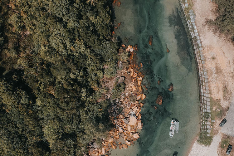 Aerial View Beach Beauty In Nature Day High Angle View Land Nature No People Outdoors Plant Rock Rock - Object Scenics - Nature Sea Travel Travel Destinations Tree Water