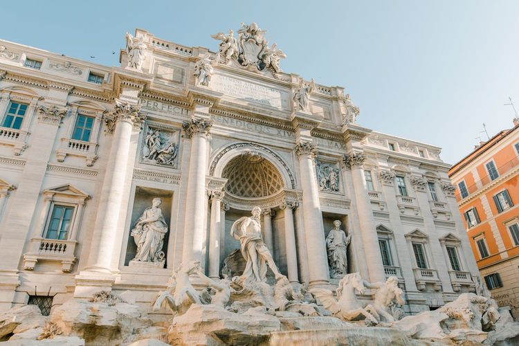 Trevi Fountain Italy Architecture Built Structure Building Exterior The Past Sculpture History Representation Travel Destinations Art And Craft Statue Human Representation Sky Travel Day No People Architectural Column Fountain Europe Europe Trip European Architecture