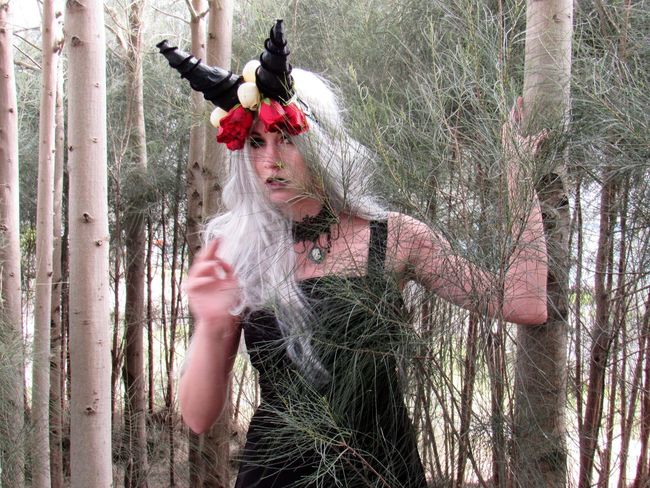 Mystical Gothic Adult Adults Only Day Forest Gothic Style Hand Raised Horned Female Human Body Part Leisure Activity One Person Outdoors Photo Shooting Poses Tree Young Adult